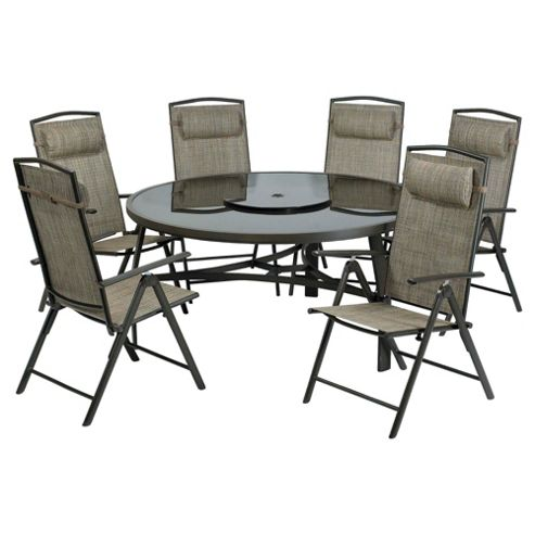 Monaco 150cm Round Glass Table & 6 Recliner Dining Set - Brown