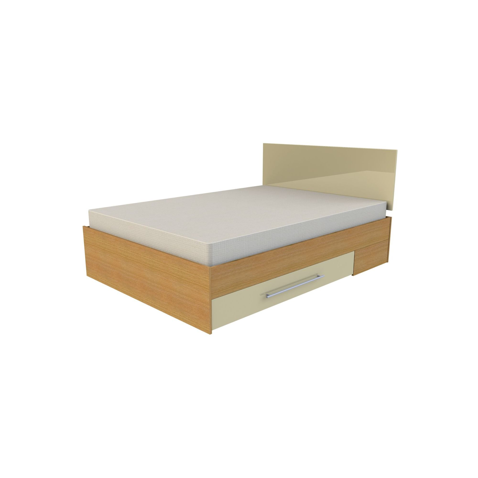 Ashcraft Modular Storage Double Bed - Oak With Cream Gloss at Tesco Direct
