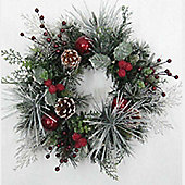 15cm Flocked Candle Ring with Red Baubles and Berries