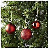 Tesco Mixed Red Christmas Bauble Pack, 40 Piece