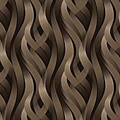 Muriva Ribbons Wallpaper - Chocolate