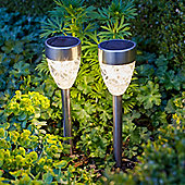 Set of 2 Warm White LED Prism Solar Garden Stake Lights