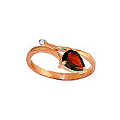 QP Jewellers Diamond & Garnet Top & Tail Ring in 14K Rose Gold