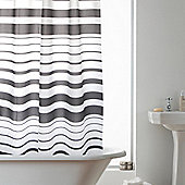 Modern Makeover Hookless Shower Curtain in Charcoal Stripe