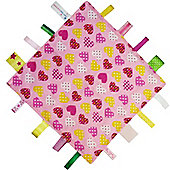 Dotty Fish Baby Tag Blanket - Pink Hearts