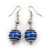 Silver Tone Navy Blue Faux Pearl Drop Earrings - 5.5cm Drop