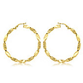 9ct Yellow Gold 48mm Grecian Twist Creole Earrings