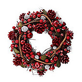Small Seasonal Red & Green Leafed Berry & Pine Cone Christmas Wreath
