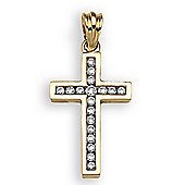 Jewelco London 18 Carat Yellow Gold 18pts Diamond Cross