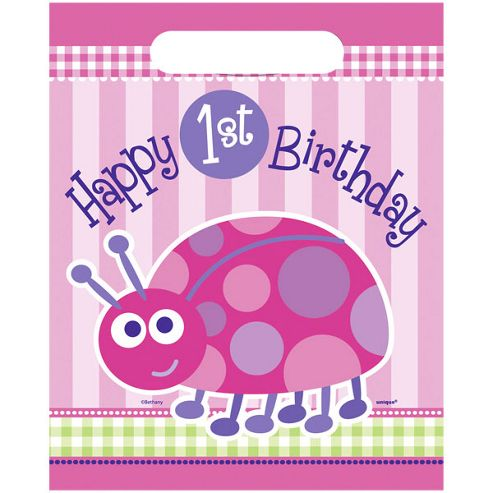 Ladybug 1st Birthday Plastic Party Bags (8pk)