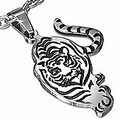 Two Colour Walking Tiger Stainless Steel Pendant For Men