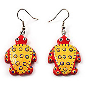 Funky Wooden Turtle Drop Earrings (Orange & Yellow ) - 4.5cm Length