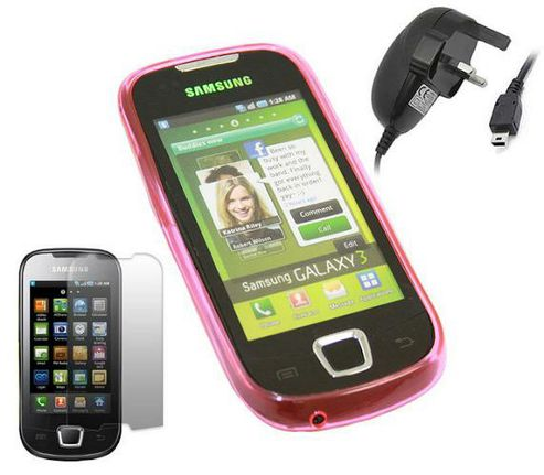 iTALKonline Pink ProGel Case, LCD Screen Protector and Mains Charger - For  Samsung I5800 Apollo