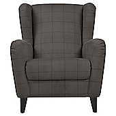 Sophia Wingback Herringbone Occasional Chair, Mocha Check