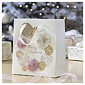 Gold and Pink Fan Christmas Gift Bag, Medium