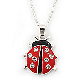 Cute Diamante Black, Red Enamel Ladybug Pendant On Silver Tone Chain - 40cm Length/ 4cm Extension