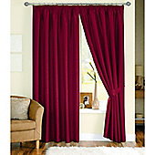 Dreams and Drapes Java 3 Pencil Pleat Lined Faux Silk Curtains (inc. t/b) 90x90 inches (228x228cm) - Red