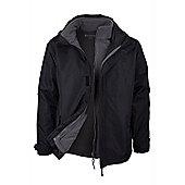 Fell 3 in 1 Mens Showerproof Walking Hiking Coat Jacket + Fleece - Black