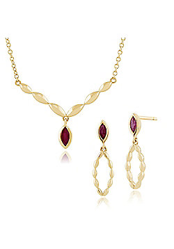 Gemondo 9ct Yellow Gold Ruby Drop Earring & 45cm Necklace Set