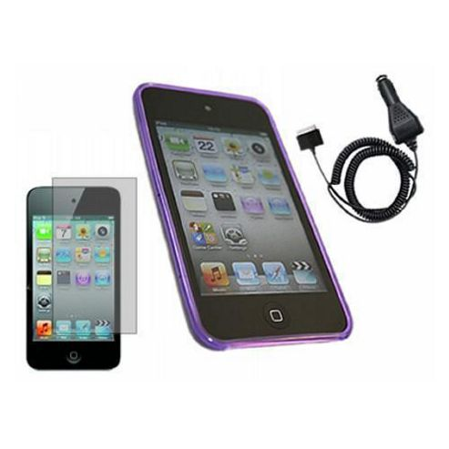 Purple ProGel Case, LCD Screen Protector, Car Charger - Apple iPod Touch 4G