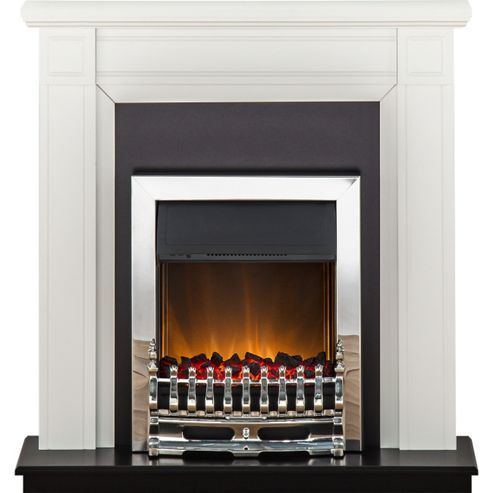Adam Georgian White & Black Electric Fireplace Suite