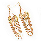 Long Chain 'Cameo' Heart Drop Earrings (Gold Plated Metal) - 13cm Length