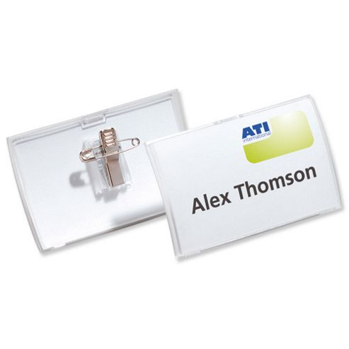 Durable Click Fold Name Badge Polypropylene Combi Clip and Insert 54x90mm Ref 8214/19 [Pack 25]
