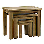 Kelburn Furniture Lyon 3 Piece Nest of Table Set in Light Oak Matt Lacquer