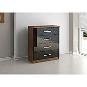 Birlea Lynx 4 Drawers Chest - Walnut and Black
