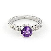 QP Jewellers Diamond & Amethyst Fantasy Ring in 14K White Gold
