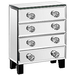 Beautify Mirrored Glass Jewellery Box with 4 Drawers