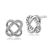 Gemondo 9ct White Gold Diamond Love Knot 'Timeless' Stud Earrings