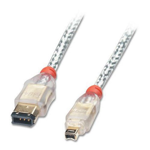 Lindy FireWire Cable - Premium 4 Pin Male to 6 Pin Male Transparent 0.3m