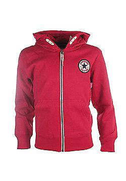 Converse Chuck Patch Core Kids Full Zip Hoodie Hoody Jacket - Red