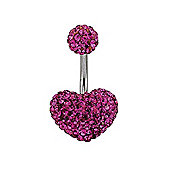 Jewelco London Sterling Silver Hot Pink Crystal Shamballa Belly Bar