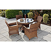 Cozy Bay Panama 4 Seater Dining Set in Java Honey