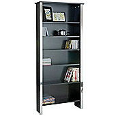 Han - Modern 6 Tier Bookcase / Storage Shelves - Black / Silver
