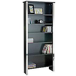 Han - Modern 6 Tier Bookcase / Storage Shelves - Black / Silver