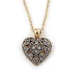 Small Burn Gold Marcasite Crystal 'Heart' Pendant With Gold Tone Chain - 40cm Length/ 5cm Extension