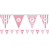 Personalise It Paper Pennant Banner - Pale Pink - Paper 7.9m