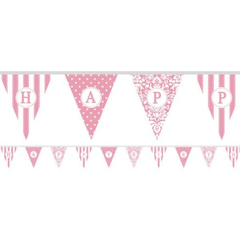 Banners Personalise It Paper Pennant Banner - Pale Pink (each)