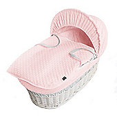 Isabella Alicia White Wicker Moses Basket (Dimple Pink)
