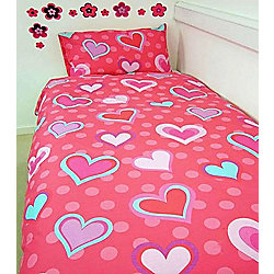 Hearts, Pink and Aqua Double Duvet