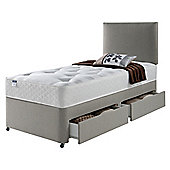 Silentnight Miracoil Luxury Ortho Tuft 2 Drawer Single Divan Mink no Headboard