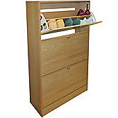 Clyde - Compact 18 Pair Shoe Storage Organiser Cupboard - Beech