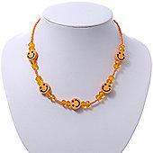 Children's Orange 'Happy Face' Necklace - 36cm Length/ 4cm Extension