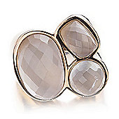 Shimla Ladies White Agate 3-Stone Ring - SH-206ML