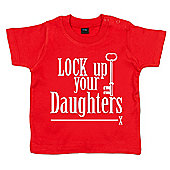 Dirty Fingers Lock up your Daughters Baby T-shirt - Red