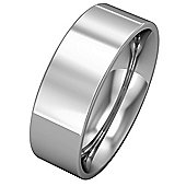 Jewelco London 9ct White Gold - 7mm Flat-Court Band Commitment / Wedding Ring - Size Z