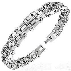 Urban Male Stainless Steel Modern Link Bracelet for Men 10mm Wide